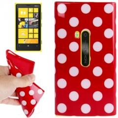 Чехол силиконовый в горошек для Nokia Lumia 920 красный