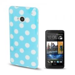 Чехол силиконовый в горошек для HTC One голубой