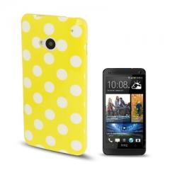 Чехол силиконовый в горошек для HTC One желтый