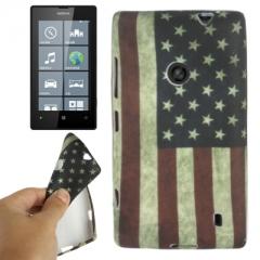 Чехол силиконовый для Nokia Lumia 520 Американский флаг
