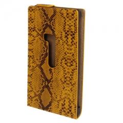 Чехол книжка Змеиный для Nokia Lumia 920 желтый