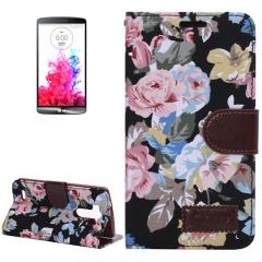 Чехол книжка Цветочки для LG G3 черный