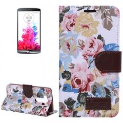 Чехол книжка Цветочки для LG G3 белый