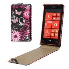 Чехол книжка с Бабочками на Nokia Lumia 520 черный