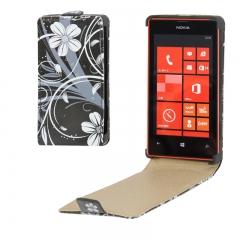 Чехол книжка с Цветочками на Nokia Lumia 520 черный