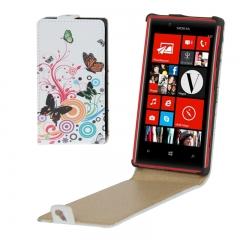 Чехол книжка Бабочки для Nokia Lumia 720 белый