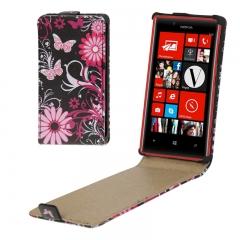 Чехол книжка Бабочки для Nokia Lumia 720 черный