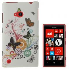 Чехол Бабочки для Nokia Lumia 720 белый
