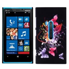 Чехол с Бабочками для Nokia Lumia 920 черный