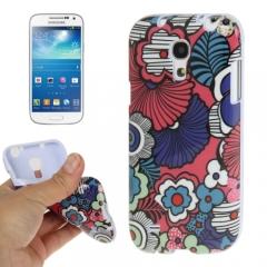 Чехол Цветочки для Samsung Galaxy S4 Mini синий