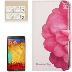 Чехол книжка для Galaxy Note 3 Цветок