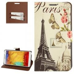 Чехол книжка для Galaxy Note 3 Эйфелева Башня с бабочкой