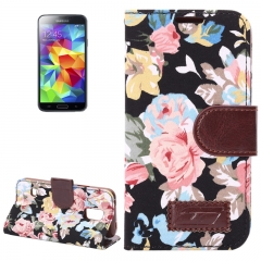 Чехол книжка Цветочки для Samsung Galaxy S5 Mini черный