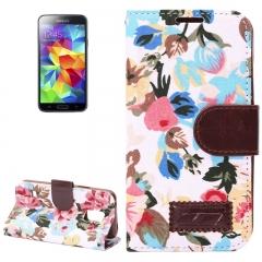 Чехол книжка Цветочки для Samsung Galaxy S5 Mini белый