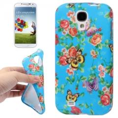 Чехол цветочки для Samsung Galaxy S4 голубой