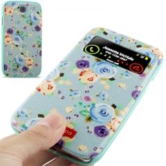 Чехол книжка с цветочками для Samsung Galaxy S4 голубой