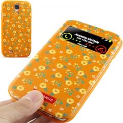 Чехол книжка Цвеочки для Samsung Galaxy S4 оранжевый