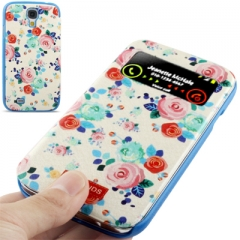 Чехол книжка с цветочками для Samsung Galaxy S4 синий