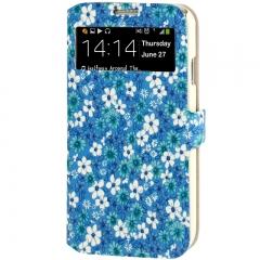 Чехол книжка Цветочки для Samsung Galaxy S4 голубой