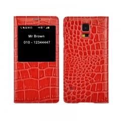 Чехол книжка для Samsung Galaxy S5 красный крокодил