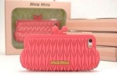 Чехол MiuMiu для iPhone 5S малиновый