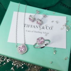Серьги и кольцо с розовым камнем