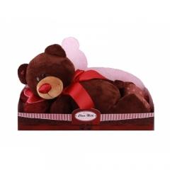 Мишка Choco лежачий с сердцем 40 см