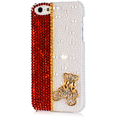 Чехол Мишка для iPhone 4 со стразами