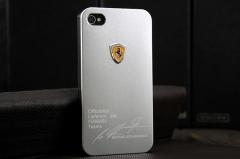 Чехол Ferrari для iPhone 4S серебряный