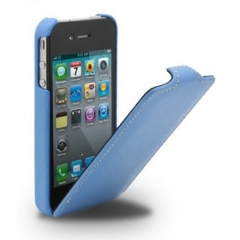 Чехол - книжка Melkco для iPhone 4 голубой