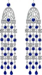 Серьги в стиле Jacob&Co с синими камнями