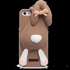Чехол Moschino кролик для iPhone 4 коричневый