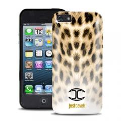 Чехол силиконовый Just Cavalli для iPhone 5 Леопард бежевый